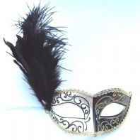 Black, Ivory and Gold Feather Mask